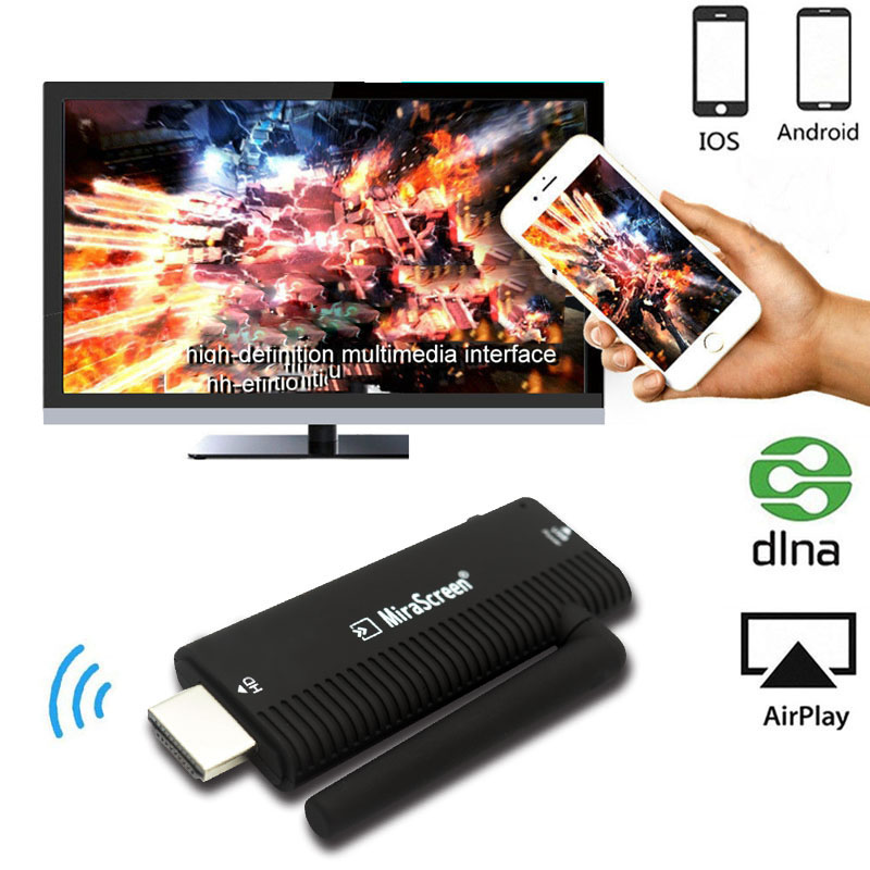 MiraScreen 1080P HD TV Stick Wireless WiFi Display TV Dongle Receiver Airplay Media Streamer Adapter for iOS Android Phone to TV