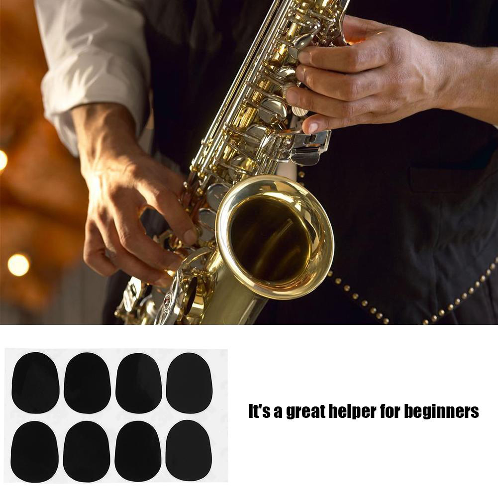 8pcs 0.8mm Replacement Round Saxophone Patches Rest Portable Soft Accessories Small Alto Tenor Silicone Black Mouthpiece Pad