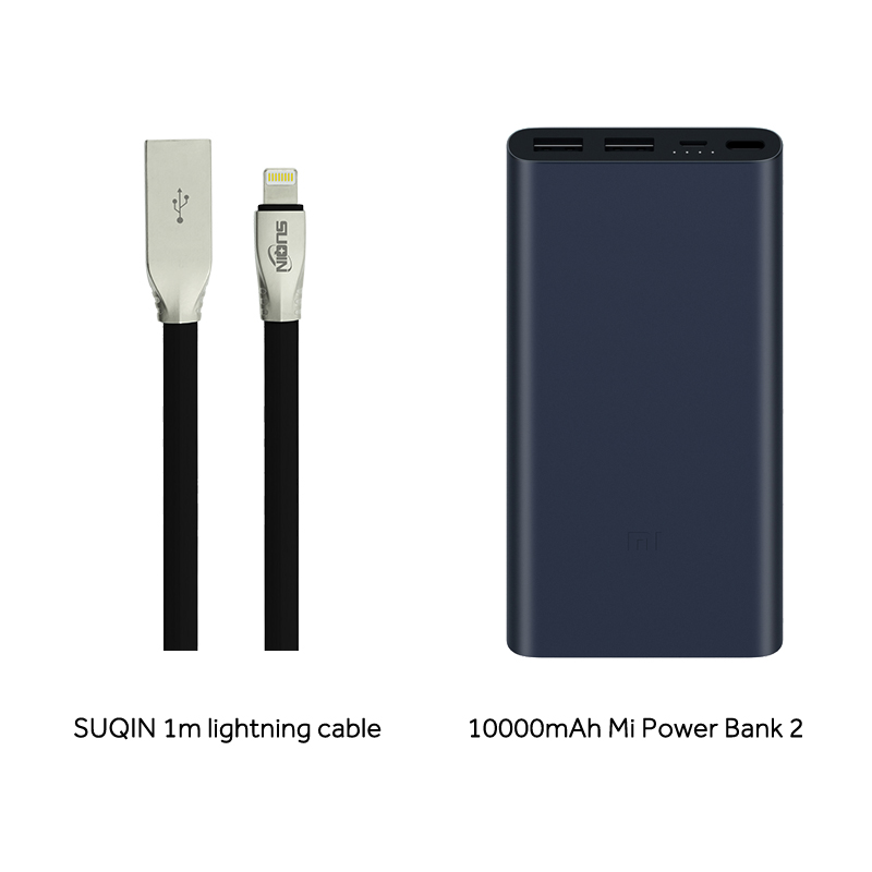 Аккумулятор Xiaomi Mi Power Bank 3 10000 PLM13ZM Fast Charge Version Недорогой внешний аккумулятор с быстрой зарядкой - Цвет: BL w Cable Lightning