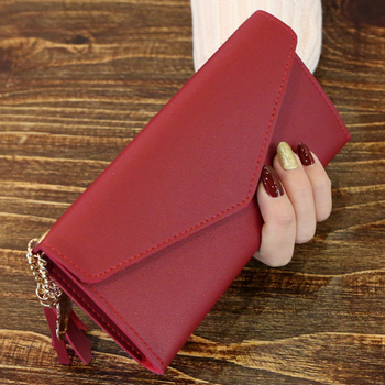 Long Wallet Women Purses Tassel Fashion Coin Purse Card Holder Wallets Female High Quality Clutch Money Bag PU Leather