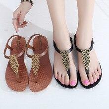 Ipomoea النساء الصنادل الوجه يتخبط 2020 الصيف حذاء مسطح امرأة البوهيمي الصنادل السيدات عطلة الشاطئ Sandales فام SH041401