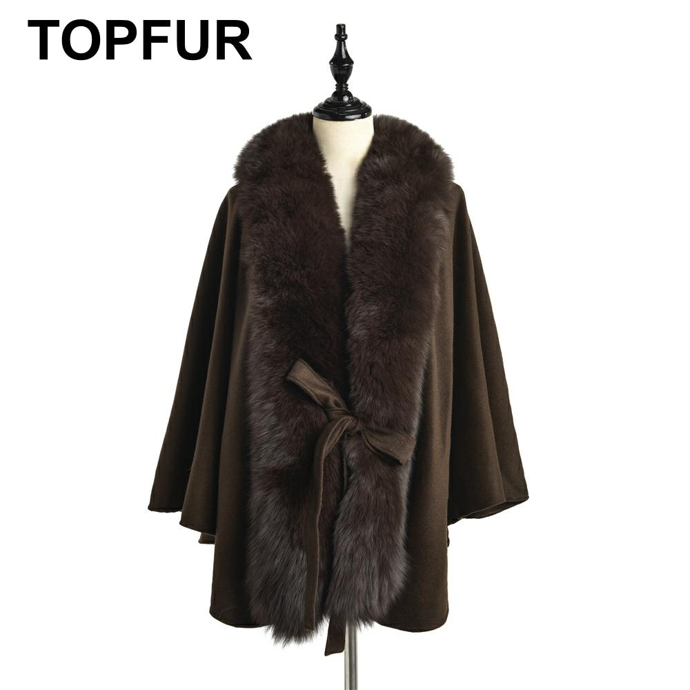 TOPFUR 2019 New Fashion Winter Female Cape Real Fur Cape For Women Three Quaeter Real Fox Fur Outerwear Bat Sleeved V-Neck Cape