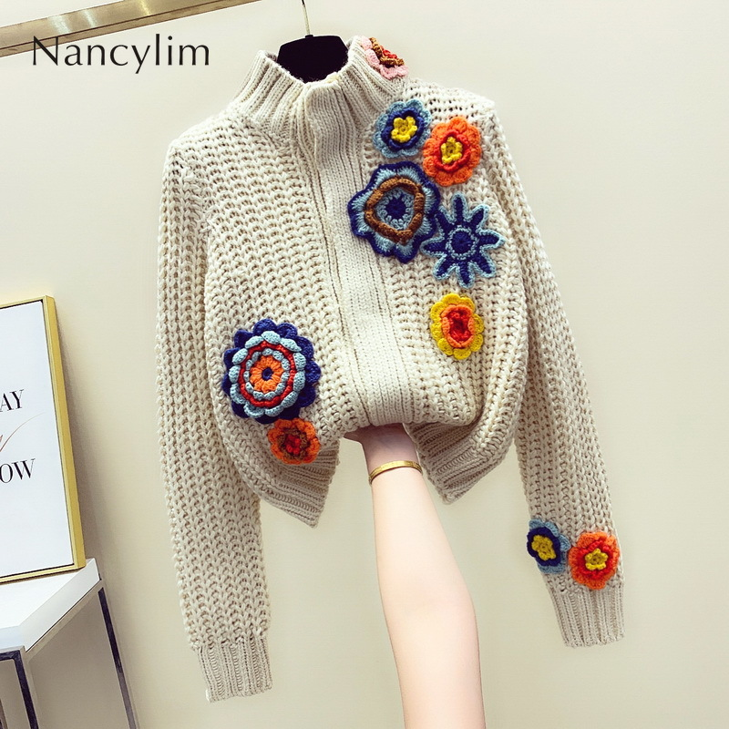 Cardigan Sweater Women 2019 Autumn Winter New Embroidered Flowers Long Sleeves Knitted Cardigan Knitwear Blue Apricot Color