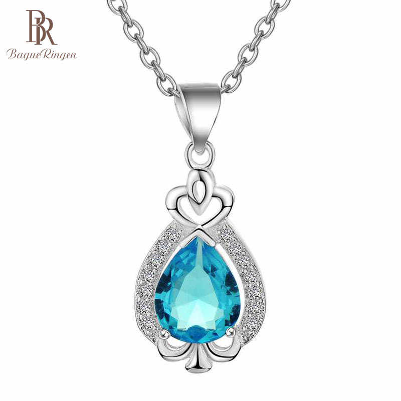Bague Ringen Simple Silver 925 Jewelry Water Drop Shaped Gemstones Necklace for Women Heart shaped Pendant Aquamarine Emerald