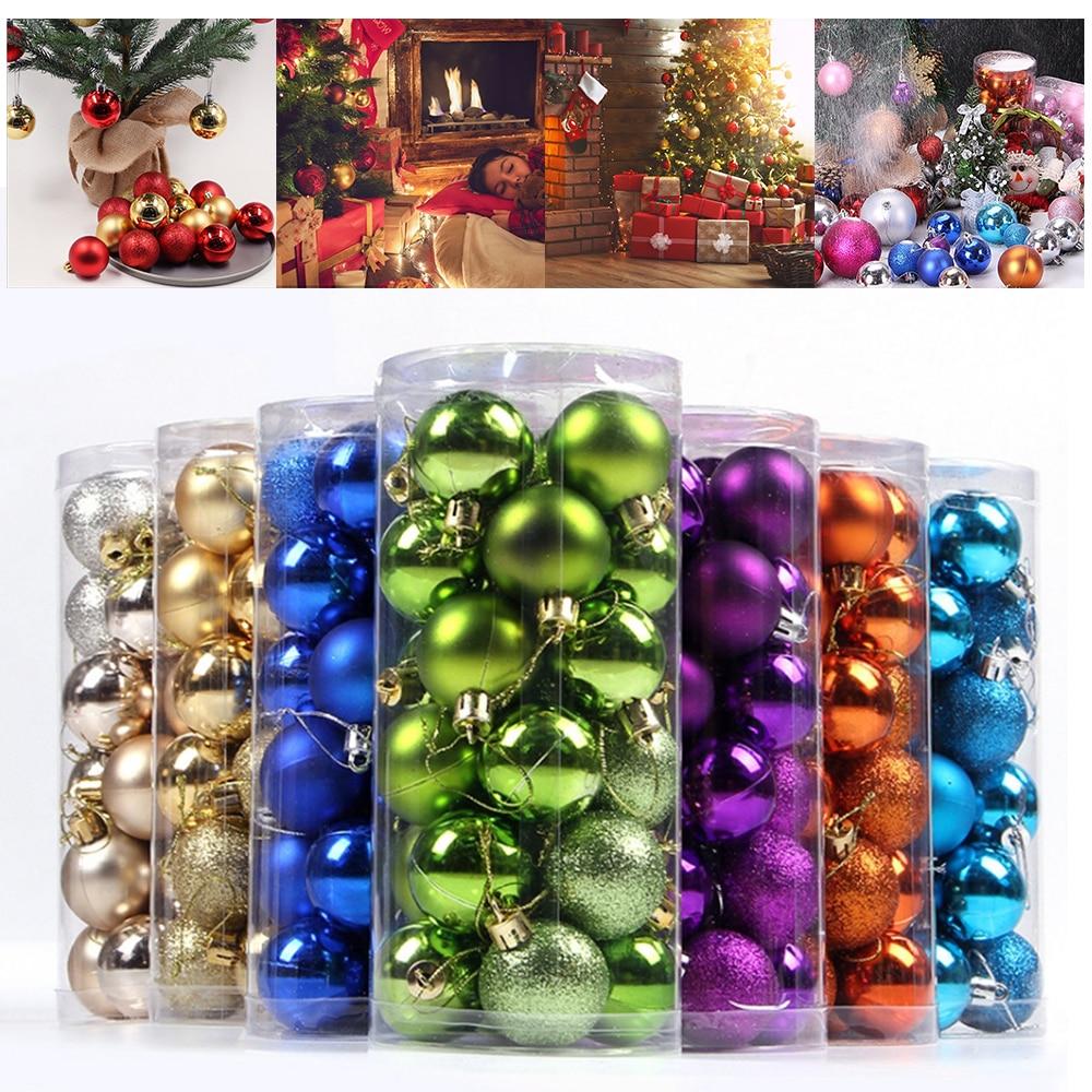 24 pièces arbre de noël noël boules colorées décorations boules fête mariage anniversaire ornement fête fournitures