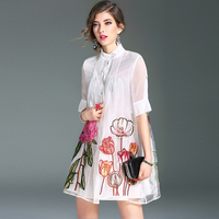 Spring Summer Short Loose 3xl Plus Size A Line Stand Neck Half Sleeves Embroidery Organza Women High Quality Fashion Mini Dress
