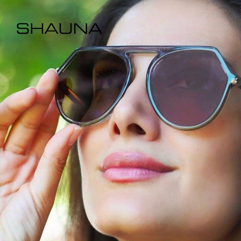 SHAUNA Flat Top TR90 Frame Retro Sunglasses