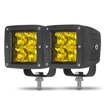 DERI 5D 3inch Square led work light 12W 3000K amber driving light Flood Spot Beam lamp Fog Lights For Jeep Car Boat Off Road