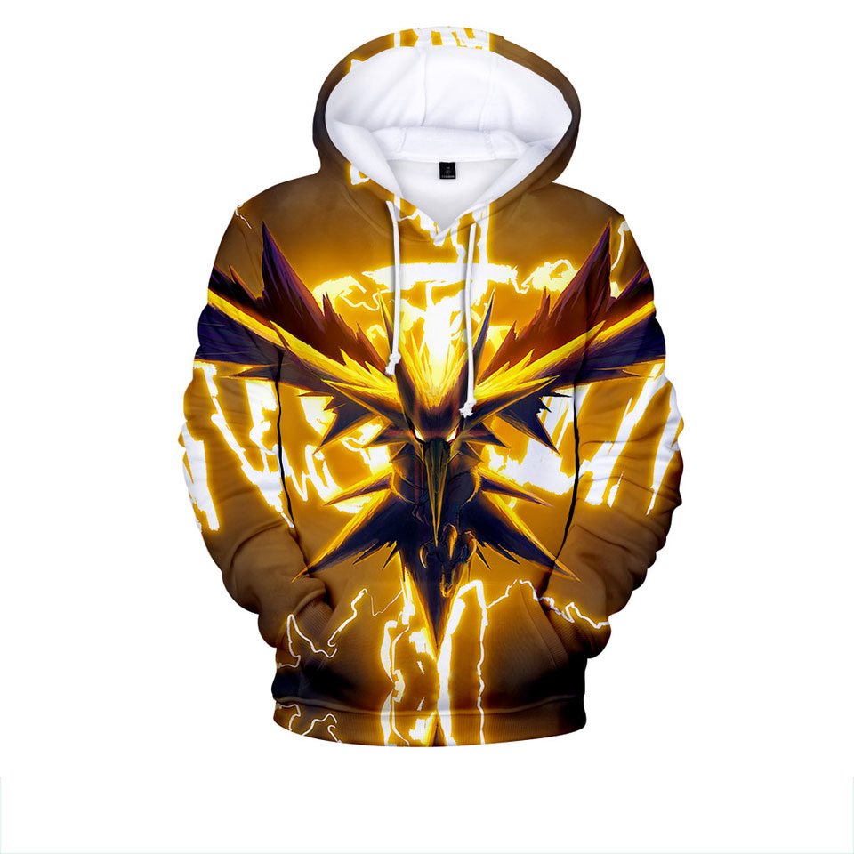 New Hoodies Casual 3D Print Pokemon Sweatshirt Long Sleeve Harajuku Man Clothes 2019 Tops Kpop Hip Hop Plus Size Custom