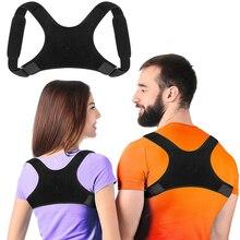 Cinta de suporte para correção de postura para adultos unissex, cinto ajustável, preto, clavícula, coluna, costas, ombros, lombar