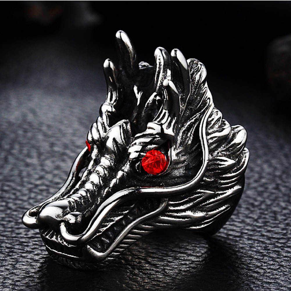 2019 ใหม่ร้อนขายมังกรแหวนผู้ชาย Punk Rock สไตล์หินสีแดงแหวนเครื่องประดับส่วนบุคคลแหวนที่ยุ้ย