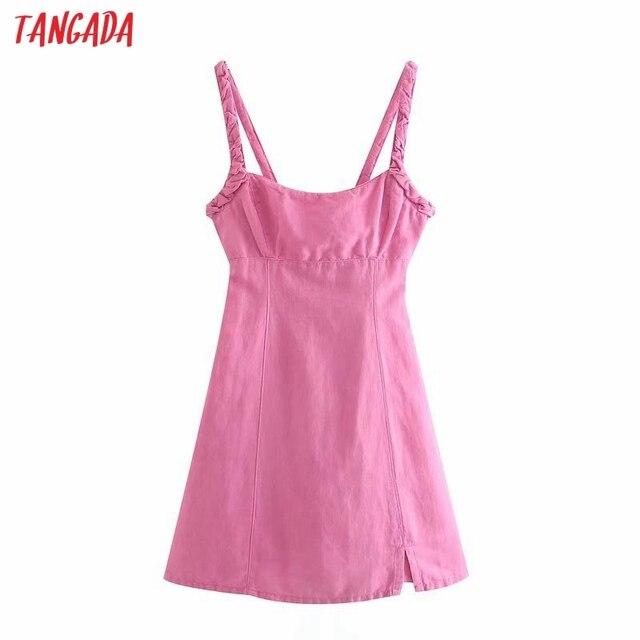 Tangada Summer Women Solid Pink Backless Mini Dress Strap Adjust Sleeveless 2021 Fashion Lady Sundress 3H375 1
