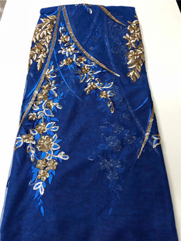 Graceful Royal Blue Evening Dress Material French Net Lace Fabric With Sequins QN146(5Yards/Lot)