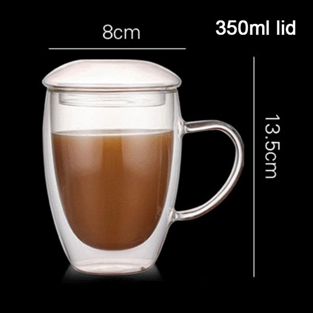 Verres expresso isolés Double mur | Tasses à café en verre Transparent résistant aux hautes températures, tasse à café/thé avec poignée