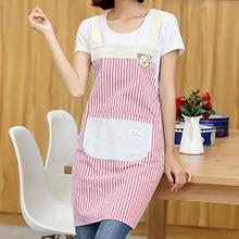 Korean fashion cotton apron Cubs stripes small fresh green