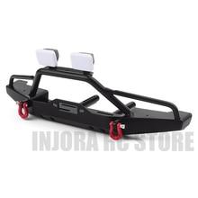 INJORA 1PCS Front Bumper with Light for 1:10 RC Crawler Car Traxxas TRX4 Axial SCX10 & SCX10 II 90046
