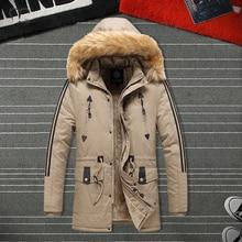 Hat Detachable Parka Men Fur Jackets Winter Warm Thick Pilot Coat Men's Hooded Overcoat Windproof Cotton Outwear Male Plus Size