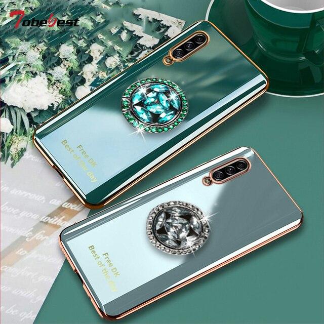 لامعة الماس البنصر تصفيح سيليكون قضية الهاتف لسامسونج غالاكسي A7 2018 A750 Coque رقيقة جدا لينة غطاء من البولي يوريثان