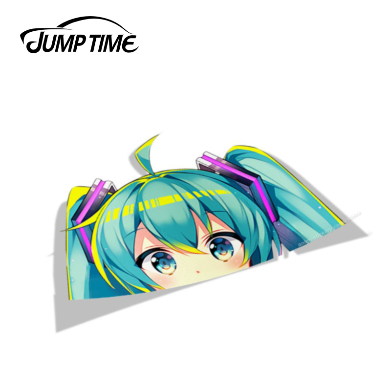 Jump Time 13cm X 8.4cm Car Stickers Hatsune Miku PEEK Anime Decal Funny Car Styling Sticker Waterproof Auto Motor Decor Graphics