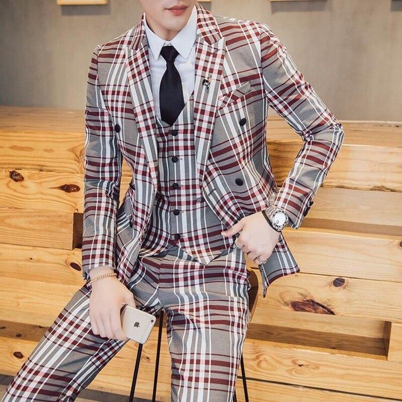 Suits Men British Latest Coat Pant Designs Mens Suit Slim Fit Plaid Stage Performance Wedding Dress Tuxedos