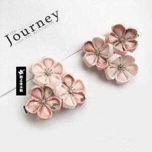 Image 5 - Japon tarzı Tsumami Kanzashi Sakura çiçek Kimono tokalarım aksesuar saf el yapımı saç tokası Pin Headdress saç süsler