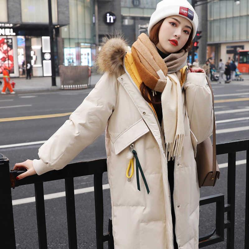 Tự Nhiên Lớn Gấu Trúc Lông Áo Khoác Mùa Đông Nữ Vịt Xuống Dài Parkas Nữ Trơn Mũ Dày Ấm Phối Kéo Xuống