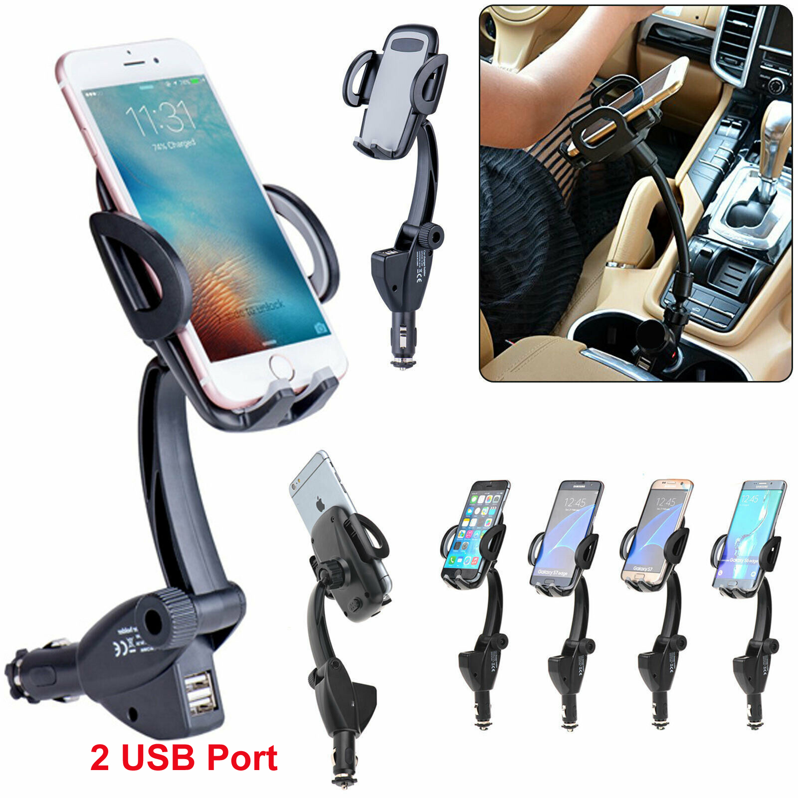 Car Dual USB Ports Cell Phone Charger Mount Holder Stands