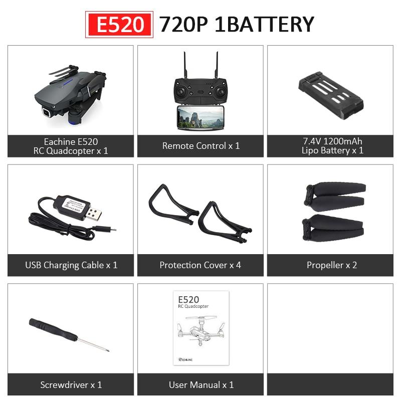 Eachine E520S E520 gps FOLLOW ME wifi FPV Квадрокоптер с 4 K/1080 P HD широкоугольная камера Складная Высота удержания прочный Радиоуправляемый Дрон - Цвет: E520 720P 1Battery