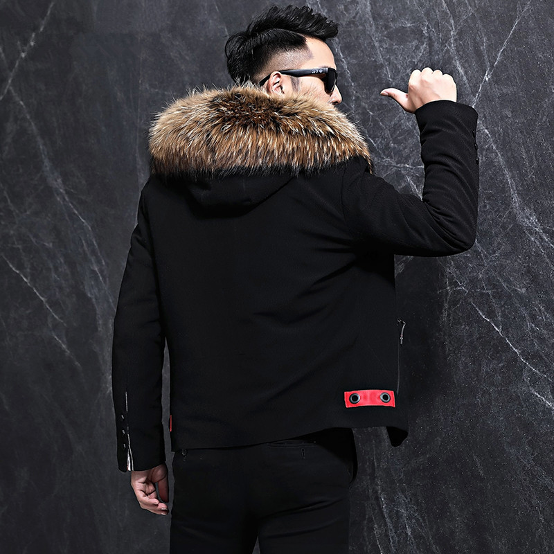 Winter Jacket Men Natural Wool Fur Coat Clothes Real Raccoon Fur Collar Warm Parka Men Short Overcoat LJ18F027 MY784