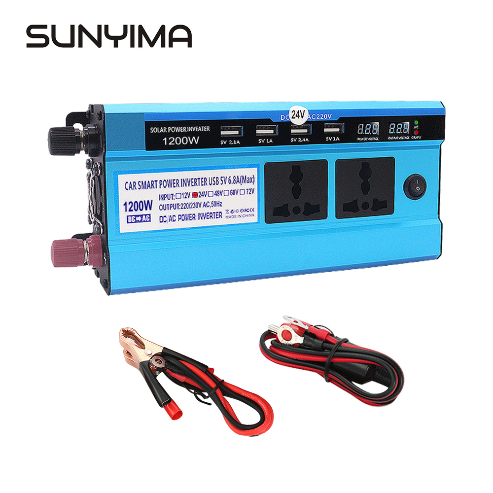 SUNYIMA Dual USB 1200W DC12V 24V To AC220V Modified Sine Wave Solar Power Inverter Voltage Transformer Converter for Car DIY image