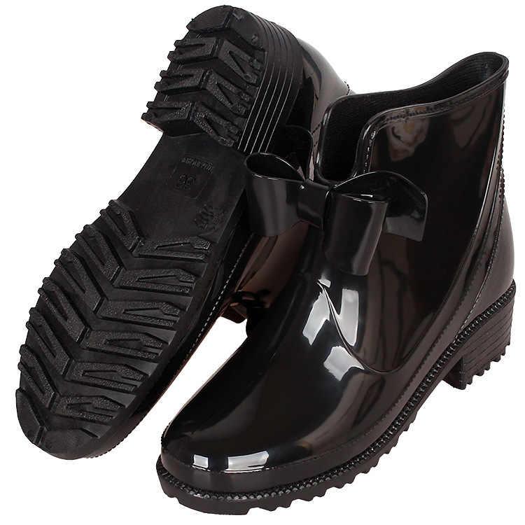 ยางใหม่สำหรับสุภาพสตรี PVC Rain BOOTS กันน้ำ Trendy Jelly ผู้หญิง BOOT แถบยืดหยุ่น Rainy รองเท้าผู้หญิง sdc5