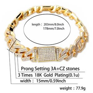 """Image 5 - JINAO  New Style Male Jewelry Bracelet Hip Hop Rock Copper Gold Color Plated Iced Out CZ Stone 14mm Bracelets With 7"""" 8"""""""