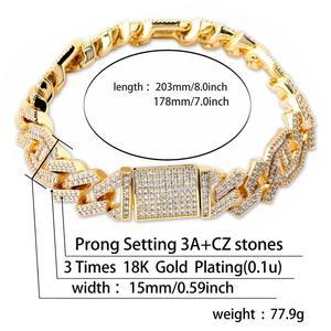 """Image 5 - JINAO Новый стильный мужской ювелирный браслет, хип хоп Рок Медный позолоченный ледяной CZ камень 14 мм браслеты с 7 """"8"""""""