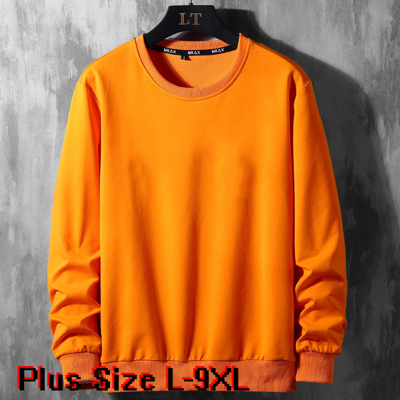 Solid Color Hoodie Men Clothes Spring Autumn Street Wear Sweatshirts Skateboard Pullover Male Plus Size 7XL 8xl 9XL Mens Hoodies