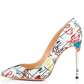 YECHNE Women Graffiti High heels Shoes Stiletto Woman Wedding shoes Sexy Pumps Plus Size Deep White Valentines Shoes