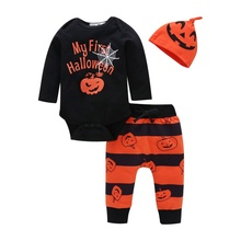 2019 Halloween baby Boy clothes set o neck long sleeve print tops+pant Autumn winter cotton soft pullover toddler boys clothes autumn winter boys clothing set 2017 new cute pullover sweatshirt pant kids suits cotton casual toddler boy clothes outfit suit