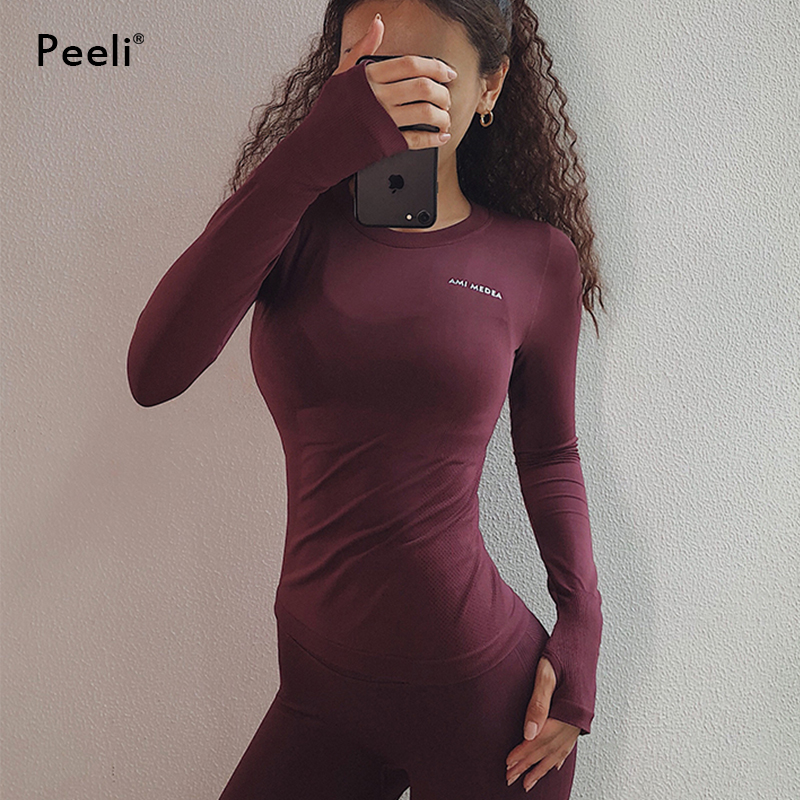 Peeli Long Sleeve Yoga Shirts Sport Top Fitness Yoga Top Gym Top Sports Wear for Women