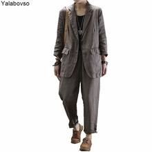 Pants Outfits Jacket Woman-Sets 2piece-Set Female Women Autumn Spring Linen for Thin