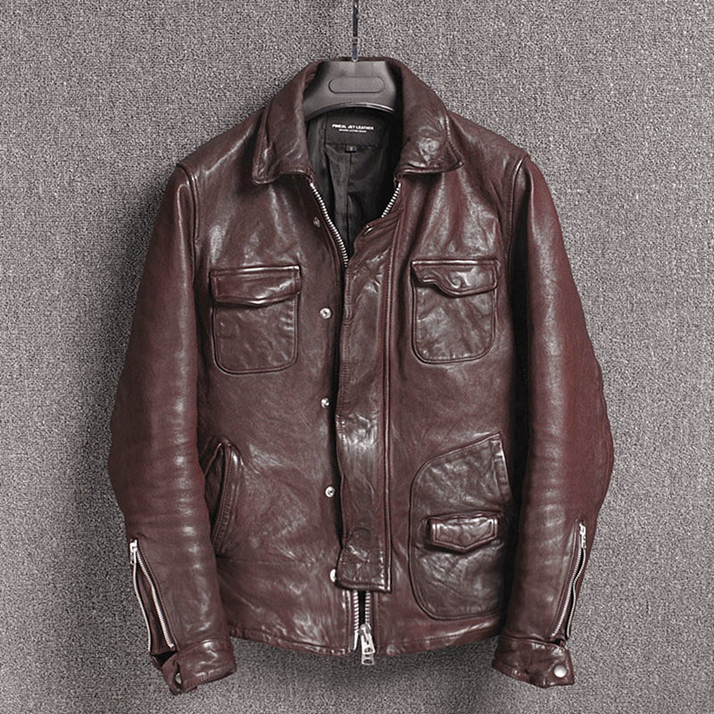 2020 New Motorcycle Genuine Leather Jacket Men Sheepskin Coat Slim Fit Real Leather Jackets Casual Chaqueta Cuero Hombre KJ2312