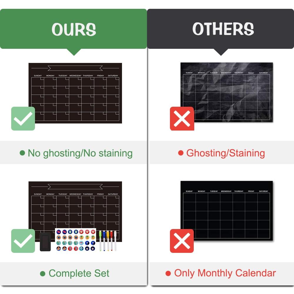3 Pack Magnetic Calendars Weekly Monthly Daily Planner Whiteboard Black Dry Erase Refrigerator Memo Board Fridge Chalkboard 4
