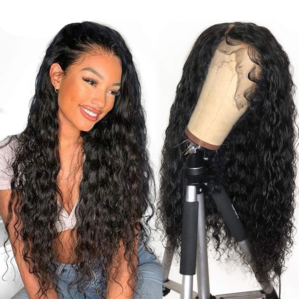 13x4 Lace Front Human Hair Wigs Pre Plucked With Baby Hair Brazilian Water Deep Wave Wig Lace Front Wig Remy Sapphire Curly Hair