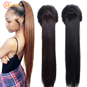 MEIFAN 60cm Synthetic Long Straight Velcro Wrap Around on Ponytail Clip-in Ponytail Extension Black Brown Nature Fake Hairpieces