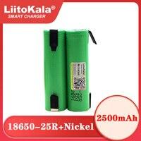 Liitokala nuova batteria originale 18650 2500mAh discharge 3.6V scarica 20A batteria di alimentazione dedicata foglio di nichel fai-da-te