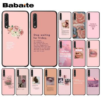 Vintage Pink Aesthetics songs lyrics Silicone Phone case For Huawei Enjoy 7 7S 8 9 10 7Plus 8Plus 9E 10Plus Mobile Cover image