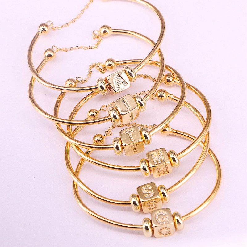 5Pcs Hot New Trendy Gold Color Jewelry Inlay CZ Crystal Letter Spacer Bead Women Cuff Bangles Bracelets