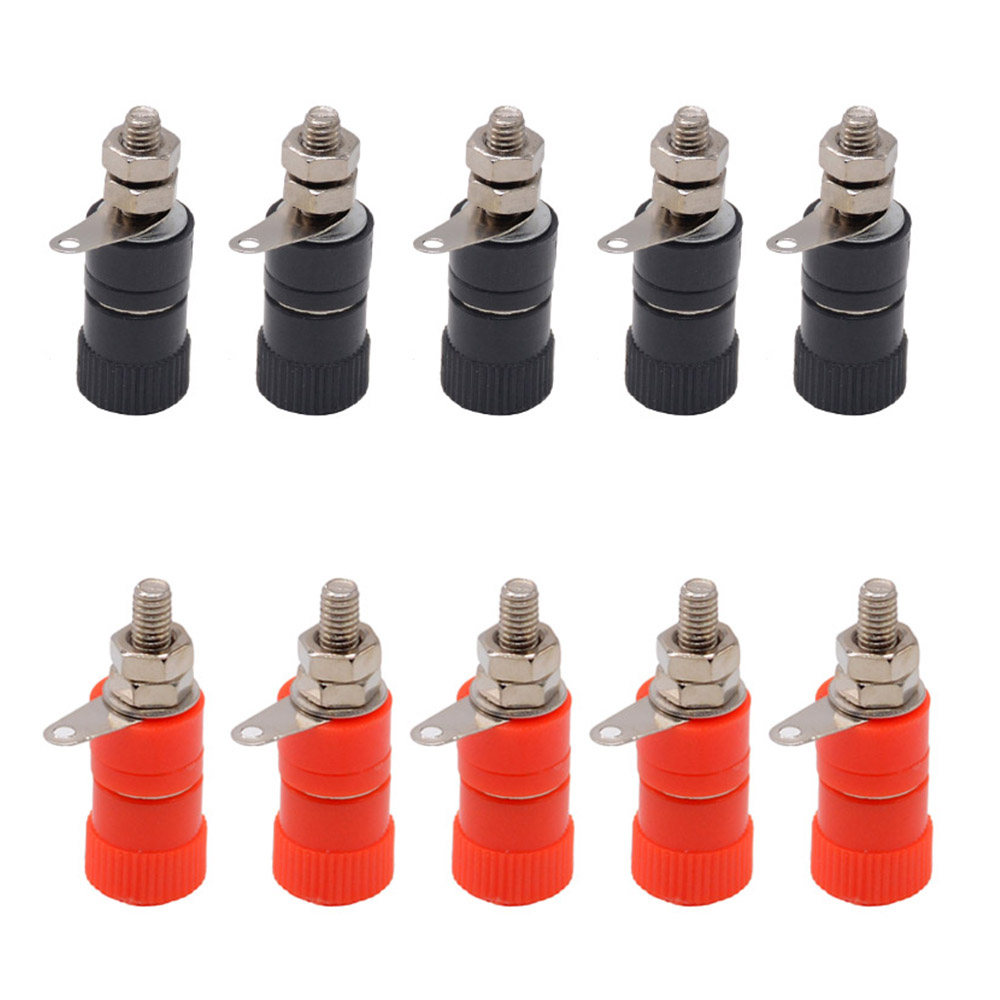 10PCS 4mm Banana Socket Nickel Plated Binding Post Nut Banana Plug Jack Connector Red Black