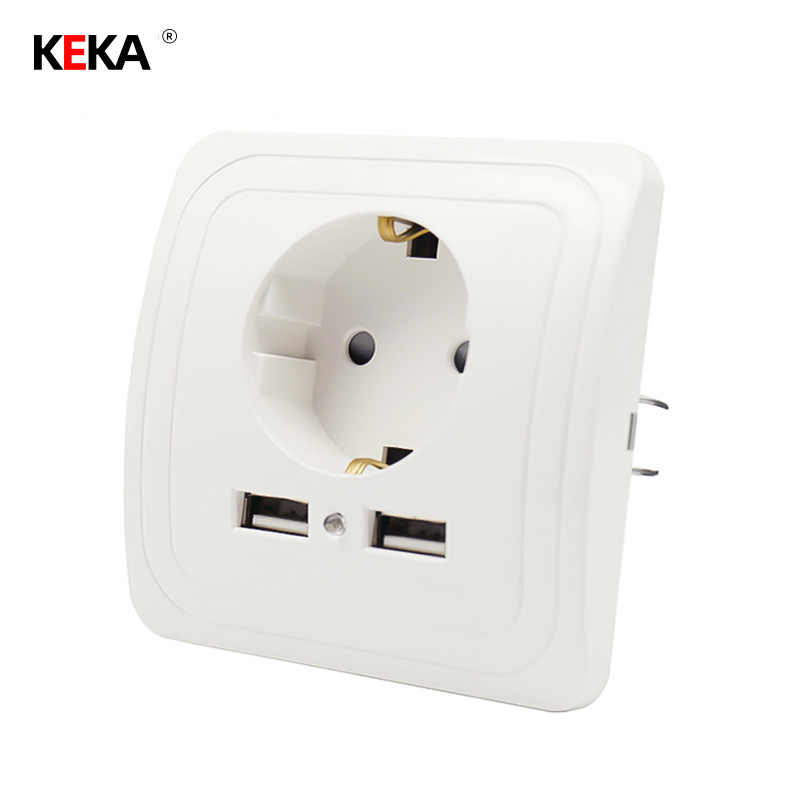 Keka Eu Plug Socket Dual Usb-poort Socket Wall Charger Adapter Opladen 2A Wall Charger Adapter Outlet Wit Pop sockets Ce