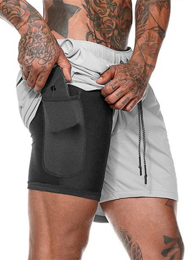 Summer Shorts Security-Pockets AIRGRACIAS Quick-Drying Bodybuilding Men 2-In-1 Size-M-5xl