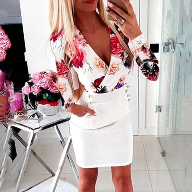 Sexy V-Neck Autumn Party Dress Fashion Floral Long Sleeve Women Spring Dress Plus Size Casual Vestidos Office Ladies Pencil Robe