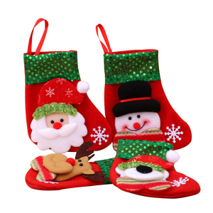 Christmas Xmas Tree Hanging Party Tree Decor Santa Stocking Sock Gift Candy Bags Lovely Gift Bag For Kid Children Fireplace Tree